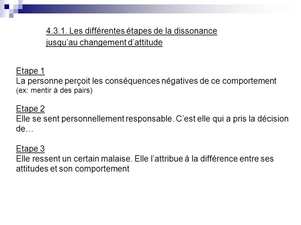 4.3.1. Les différentes étapes de la dissonance