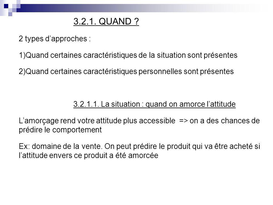 3.2.1. QUAND 2 types d'approches : Quand certaines caractéristiques de la situation sont présentes.