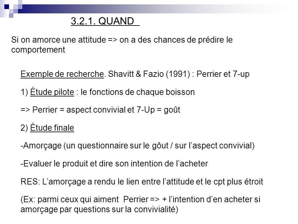 3.2.1. QUANDSi on amorce une attitude => on a des chances de prédire le comportement.