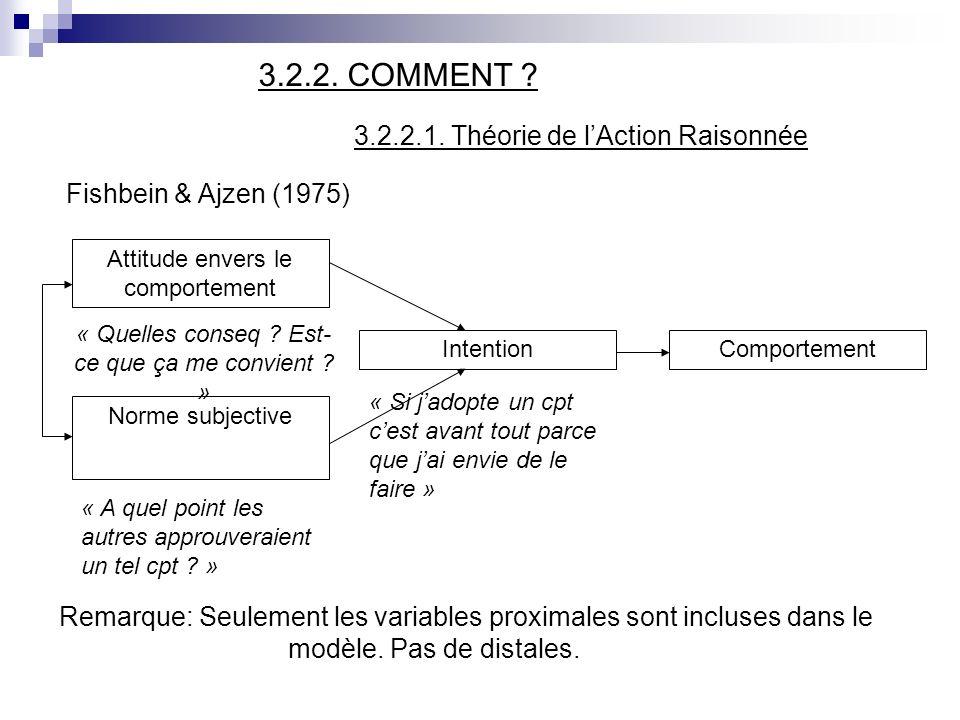 3.2.2.1. Théorie de l'Action Raisonnée Fishbein & Ajzen (1975)