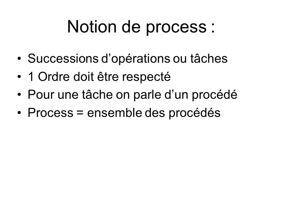 Notion de process : Successions d'opérations ou tâches
