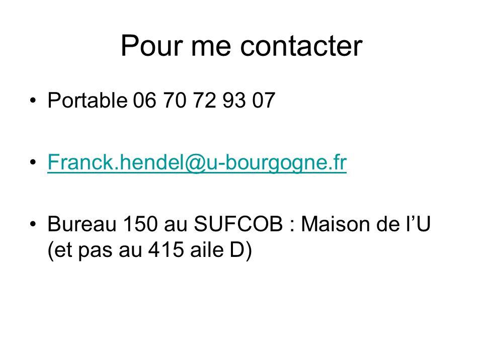 Pour me contacter Portable 06 70 72 93 07 Franck.hendel@u-bourgogne.fr