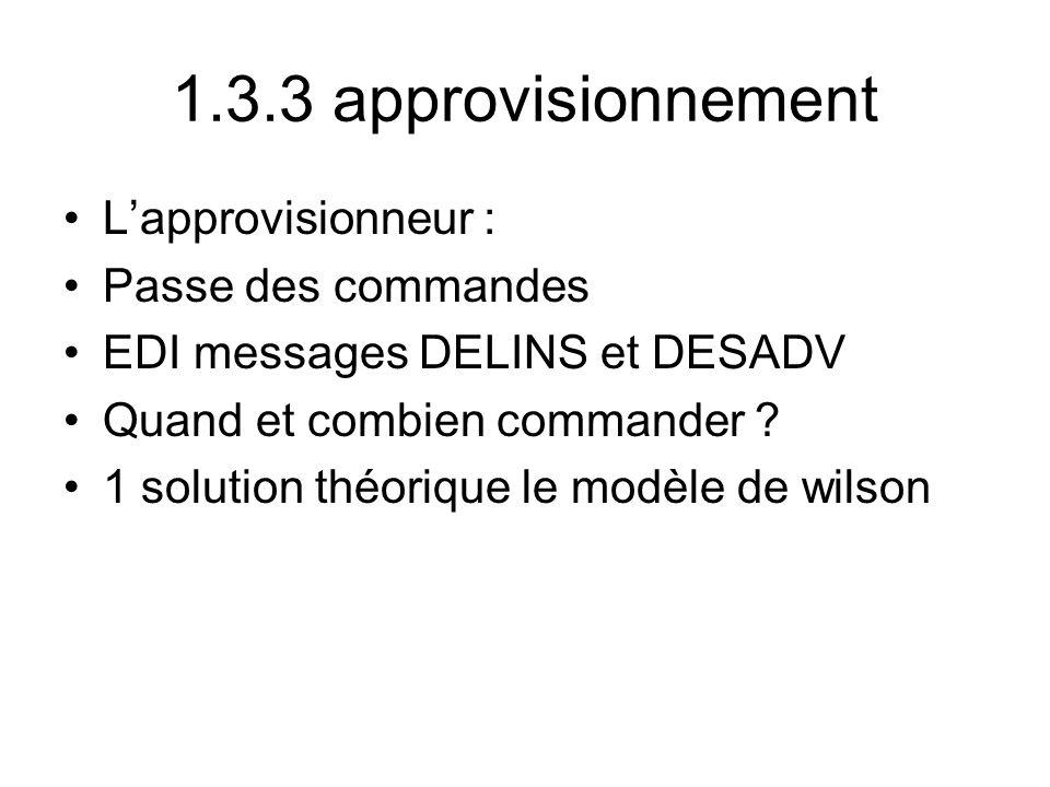 1.3.3 approvisionnement L'approvisionneur : Passe des commandes