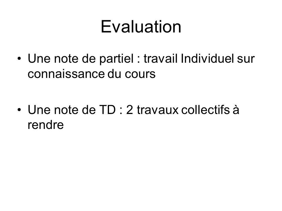 Evaluation Une note de partiel : travail Individuel sur connaissance du cours.