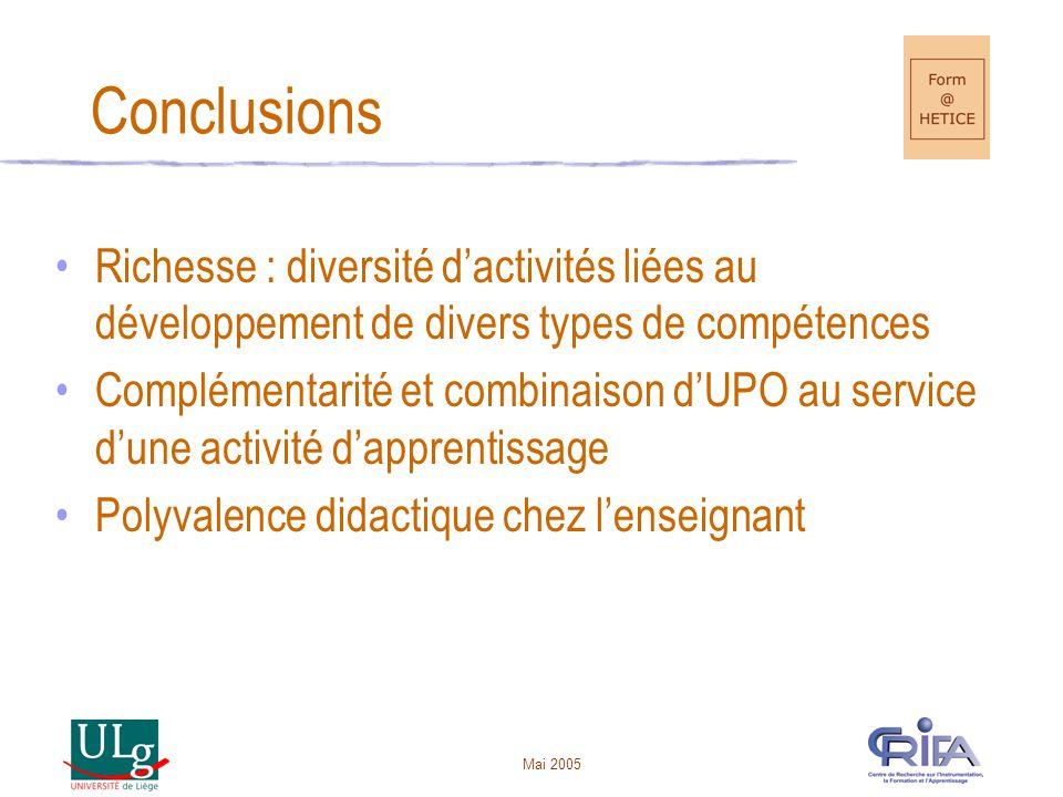 Conclusions Richesse : diversité d'activités liées au développement de divers types de compétences.