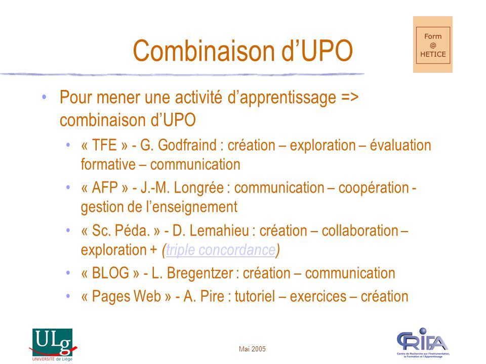 Combinaison d'UPO Pour mener une activité d'apprentissage => combinaison d'UPO.
