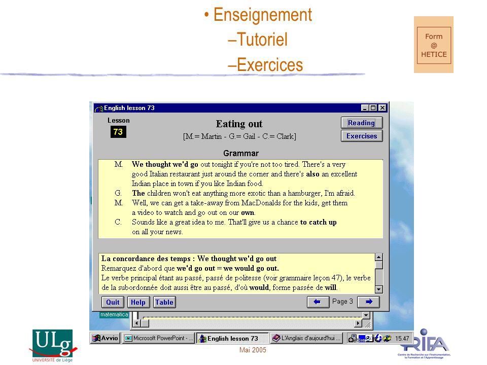 Enseignement Tutoriel Exercices Mai 2005