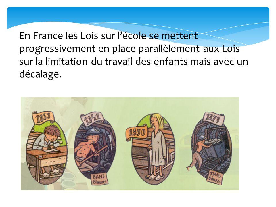 En France les Lois sur l'école se mettent progressivement en place parallèlement aux Lois sur la limitation du travail des enfants mais avec un décalage.