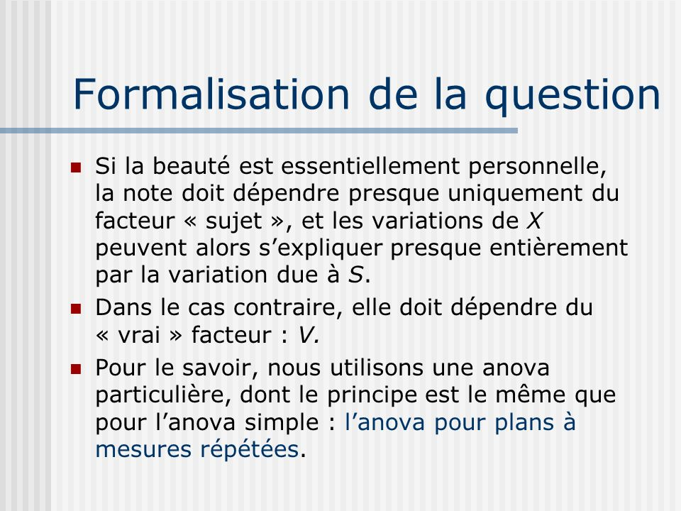 Formalisation de la question
