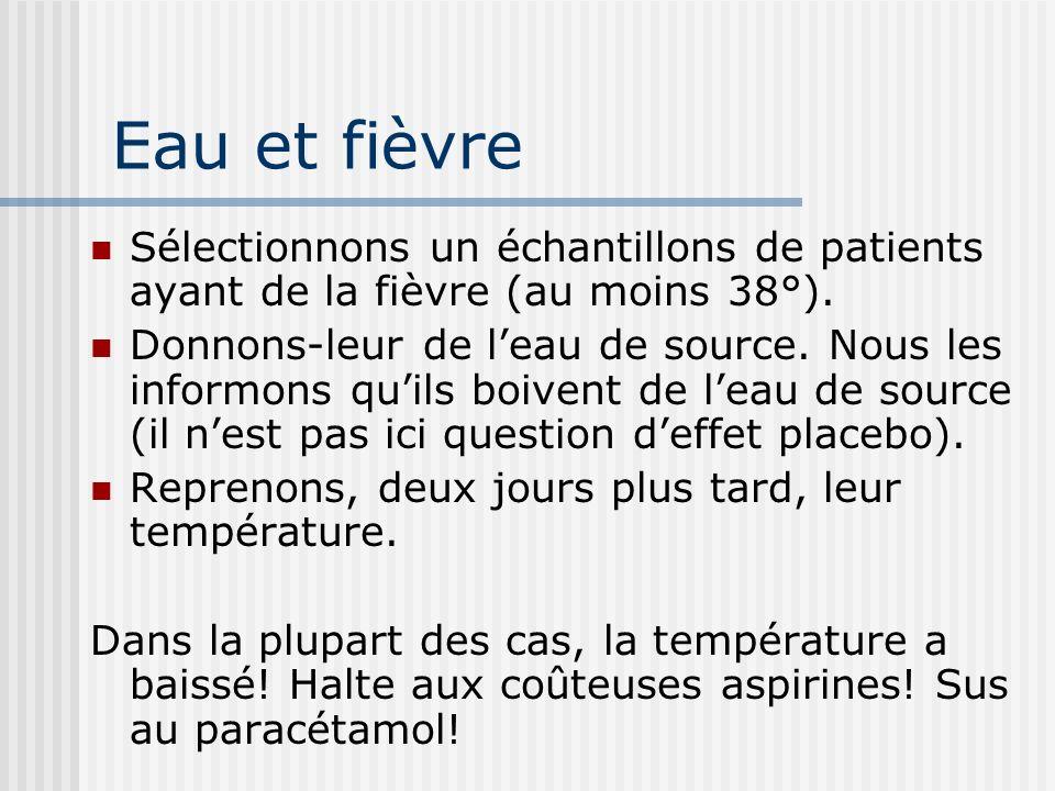 Eau et fièvre Sélectionnons un échantillons de patients ayant de la fièvre (au moins 38°).