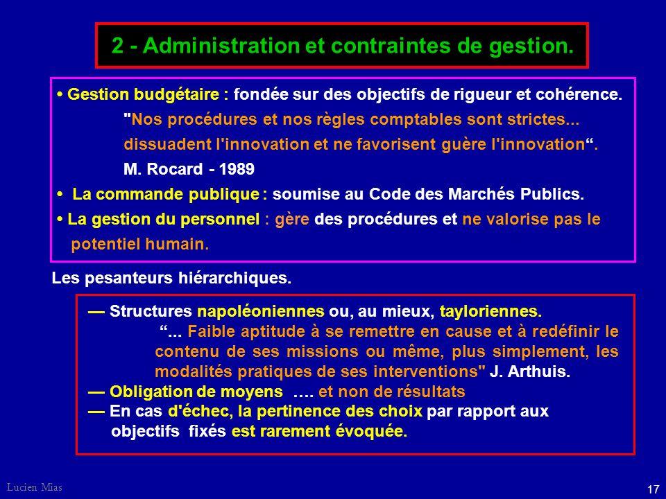 2 - Administration et contraintes de gestion.