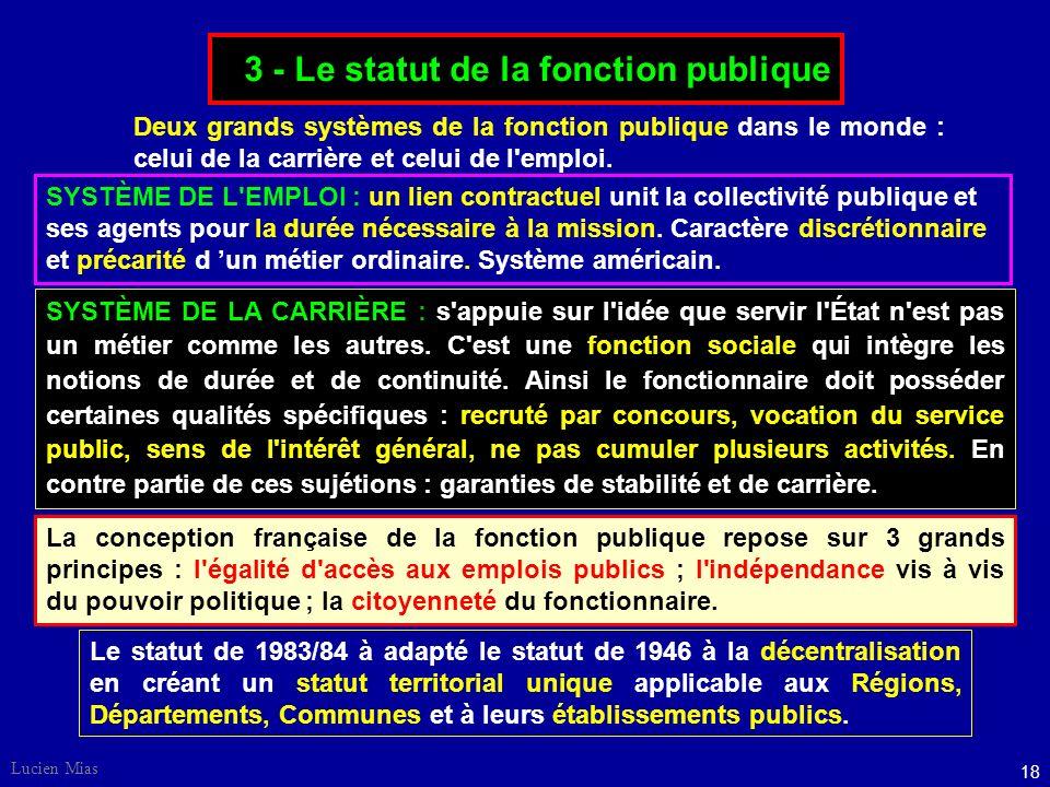 3 - Le statut de la fonction publique