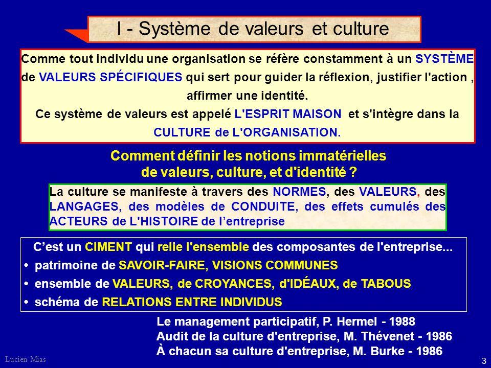 I - Système de valeurs et culture