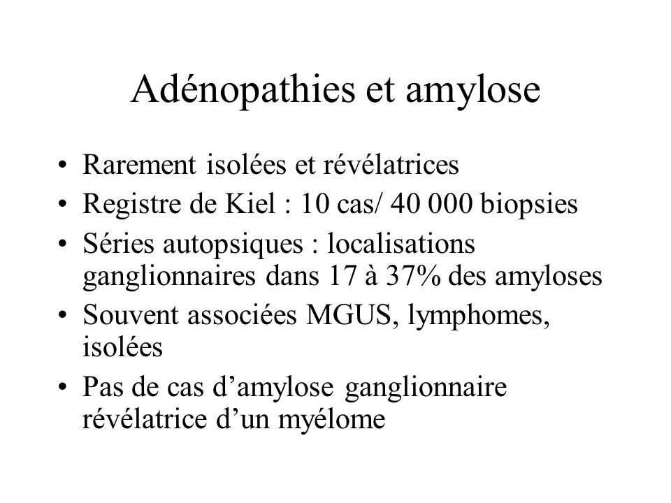 Adénopathies et amylose