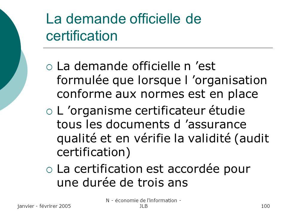La demande officielle de certification