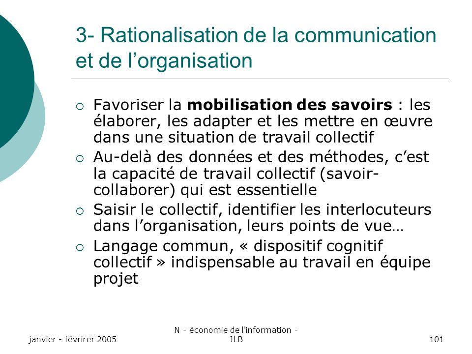 3- Rationalisation de la communication et de l'organisation