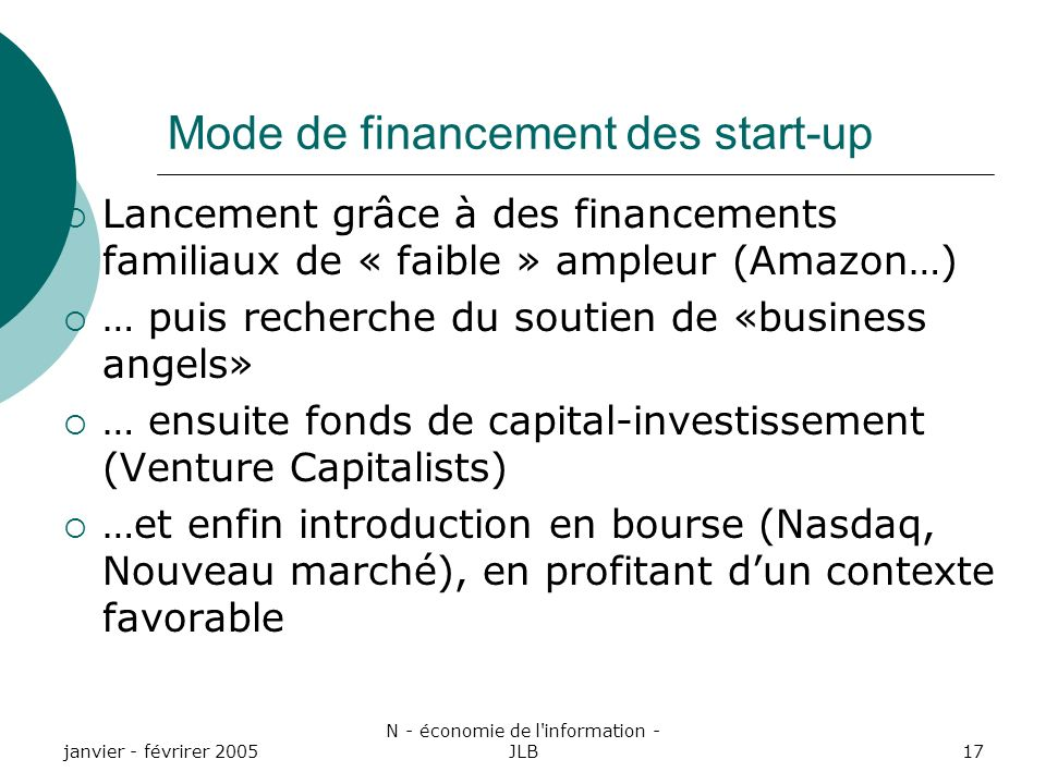 Mode de financement des start-up