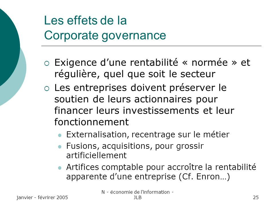 Les effets de la Corporate governance