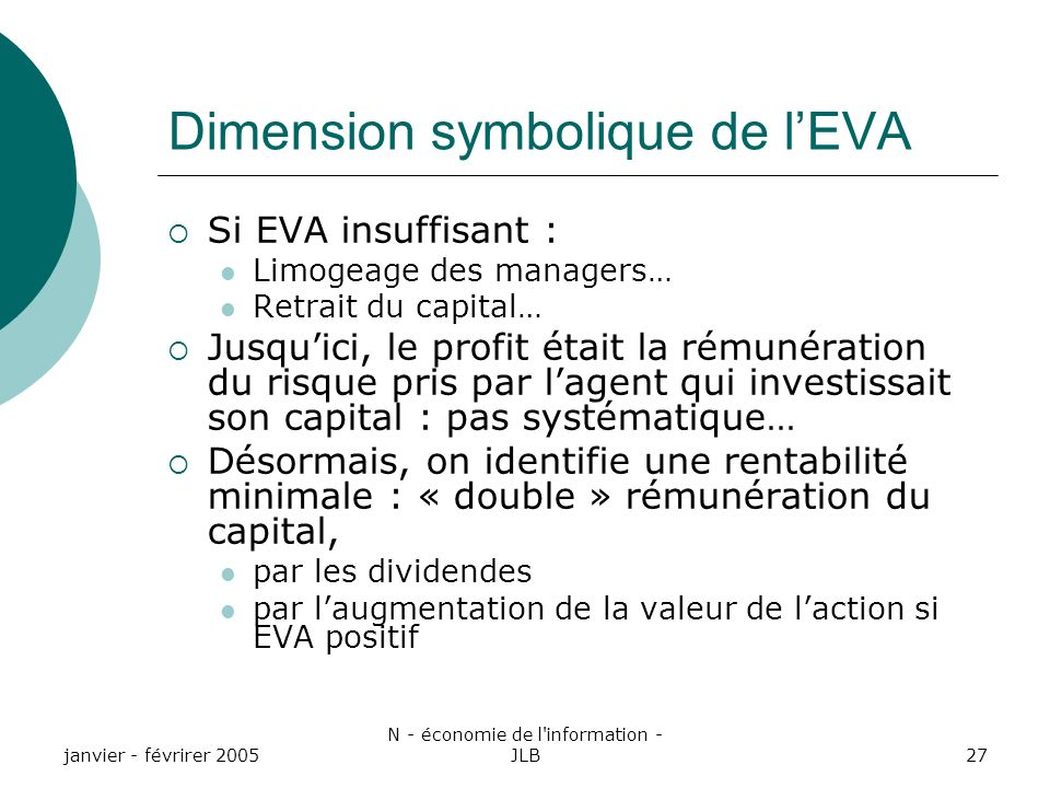 Dimension symbolique de l'EVA