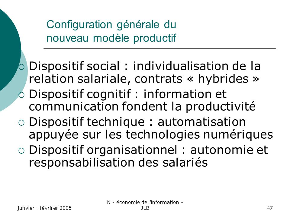 Configuration générale du nouveau modèle productif