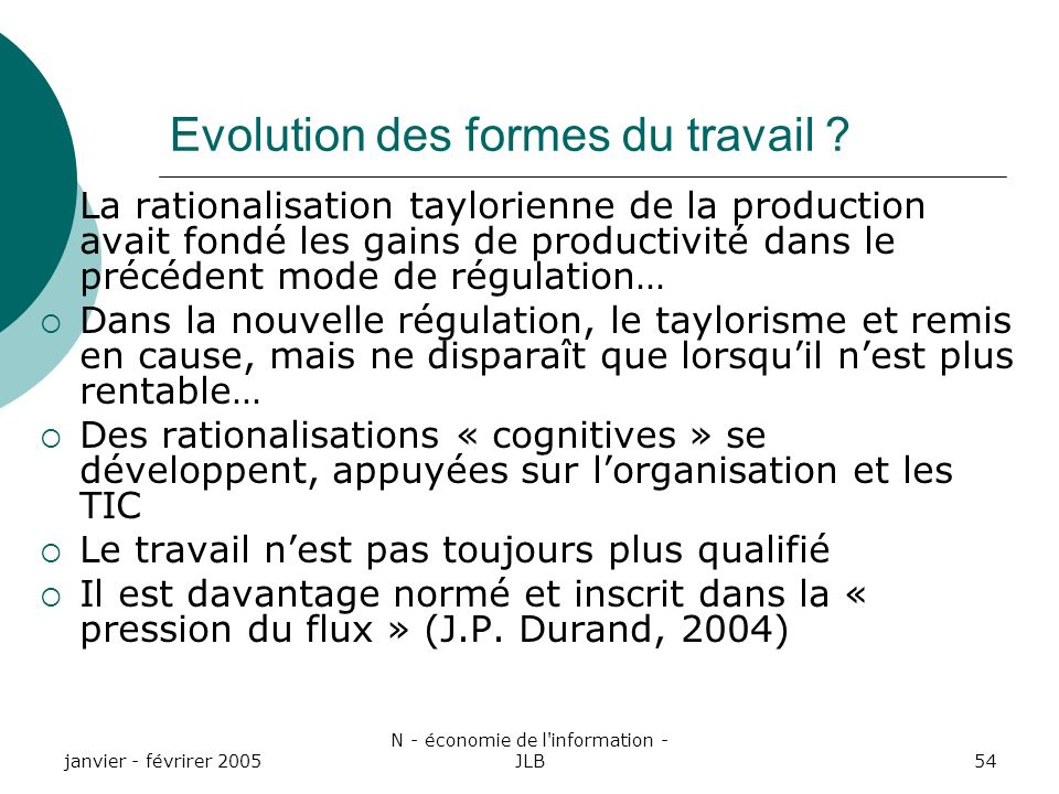 Evolution des formes du travail