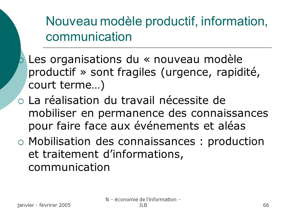Nouveau modèle productif, information, communication