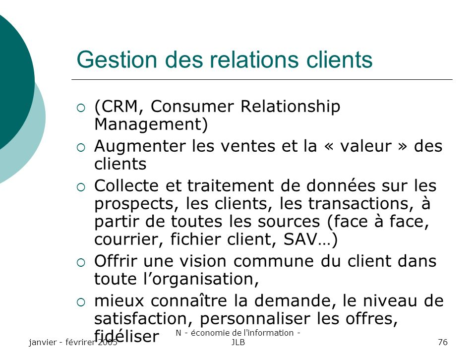 Gestion des relations clients