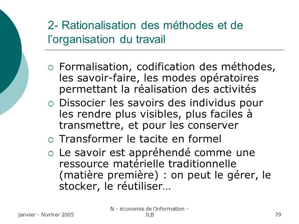 2- Rationalisation des méthodes et de l'organisation du travail