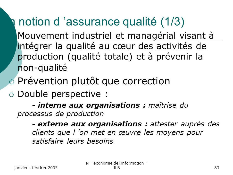 La notion d 'assurance qualité (1/3)