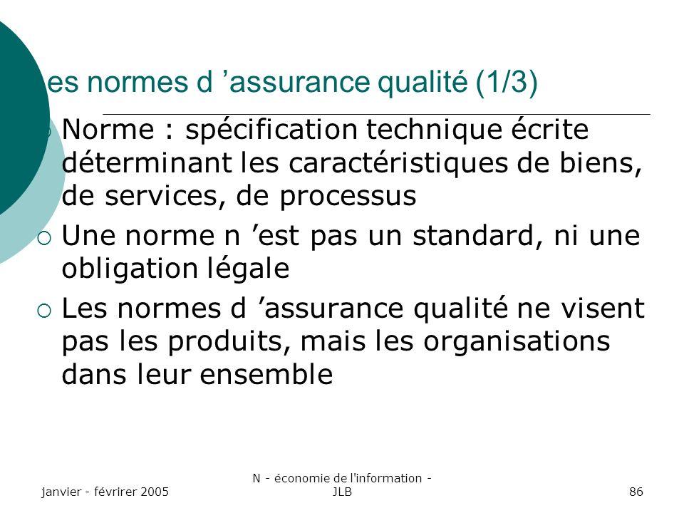 Les normes d 'assurance qualité (1/3)