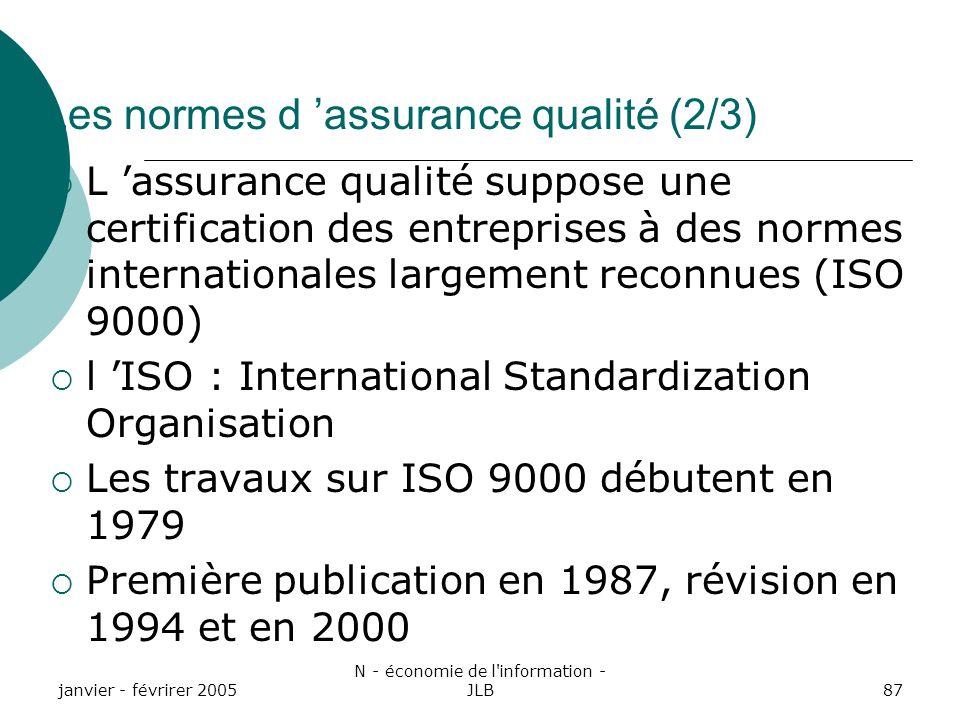 Les normes d 'assurance qualité (2/3)
