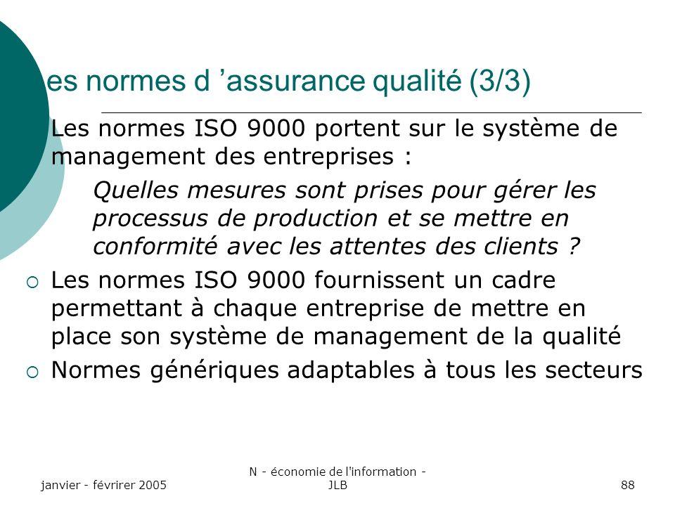 Les normes d 'assurance qualité (3/3)