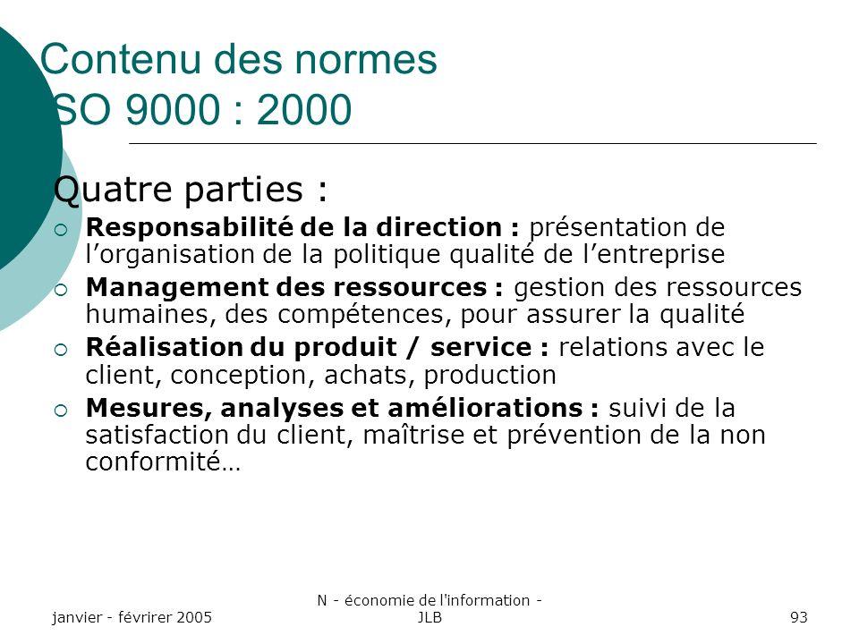 Contenu des normes ISO 9000 : 2000