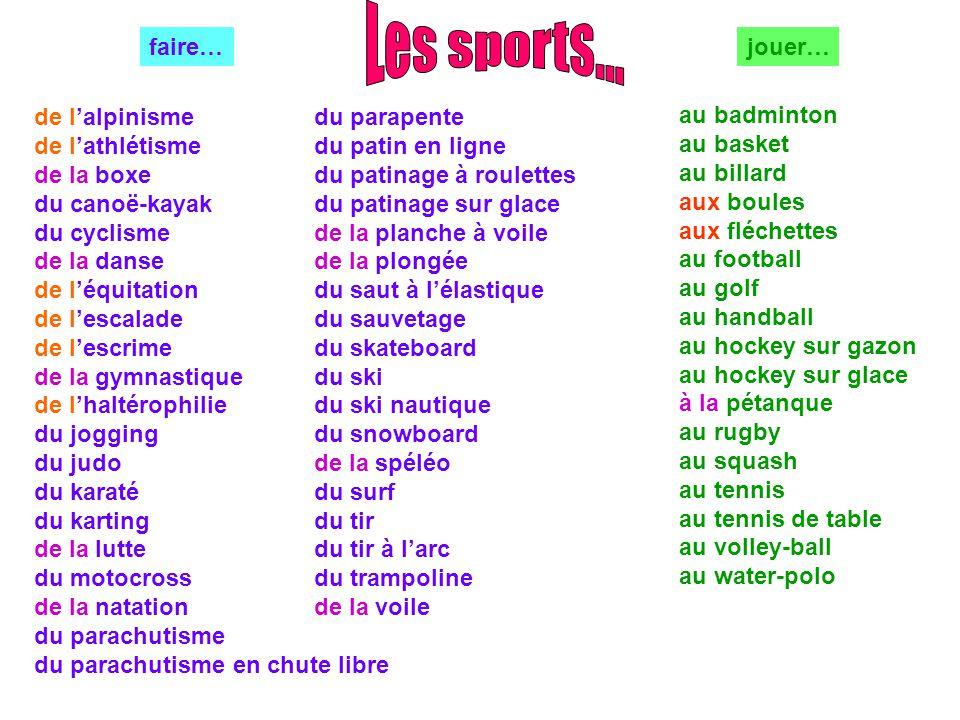 Les sports... faire… jouer… de l'alpinisme de l'athlétisme de la boxe