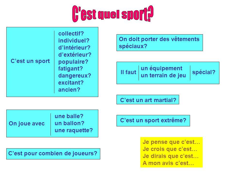C est quel sport C'est un sport collectif individuel d'intérieur