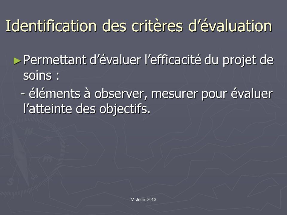 Identification des critères d'évaluation