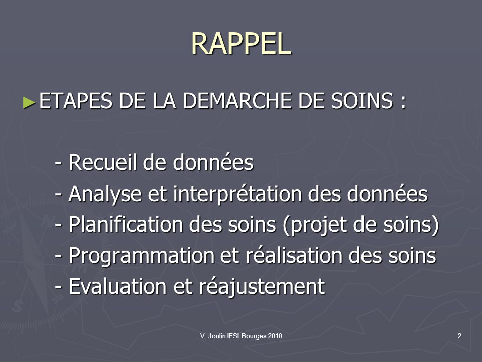 RAPPEL ETAPES DE LA DEMARCHE DE SOINS : - Recueil de données