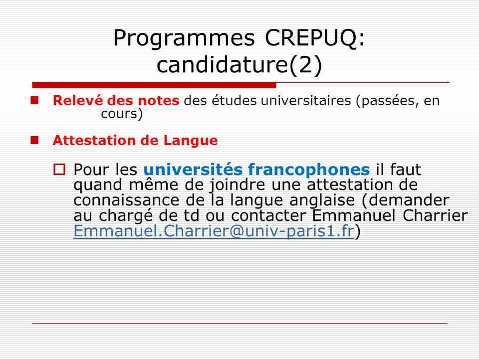 Programmes CREPUQ: candidature(2)