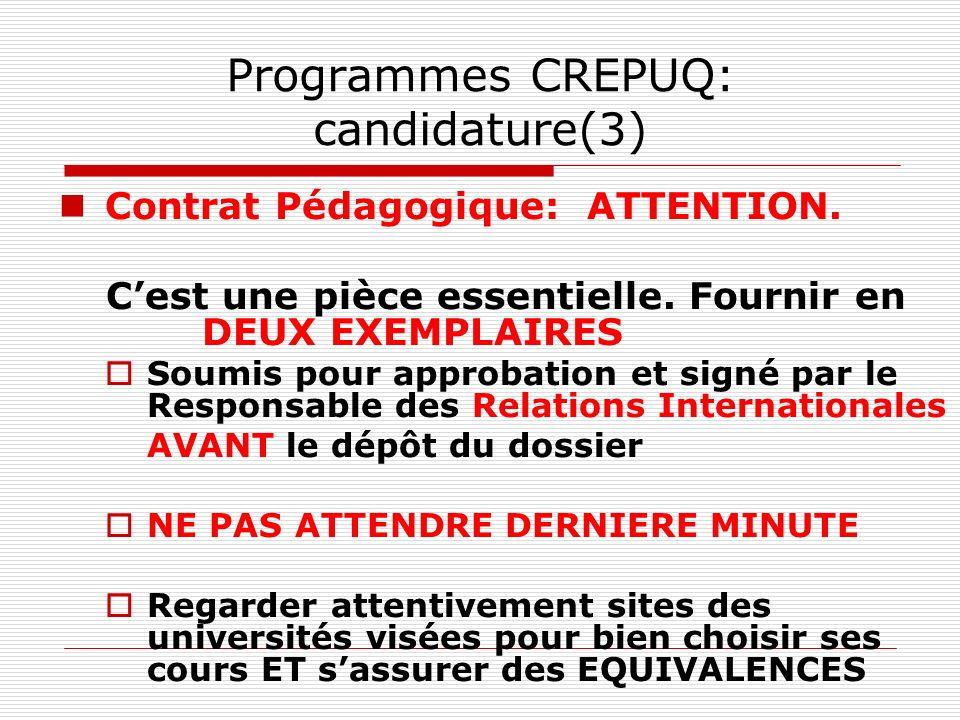 Programmes CREPUQ: candidature(3)