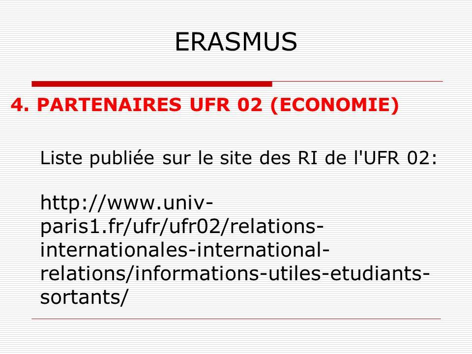 ERASMUS 4. PARTENAIRES UFR 02 (ECONOMIE)