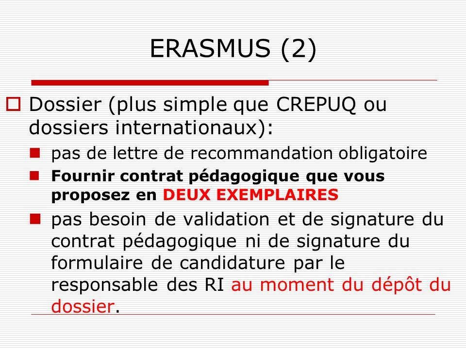 ERASMUS (2)Dossier (plus simple que CREPUQ ou dossiers internationaux): pas de lettre de recommandation obligatoire.