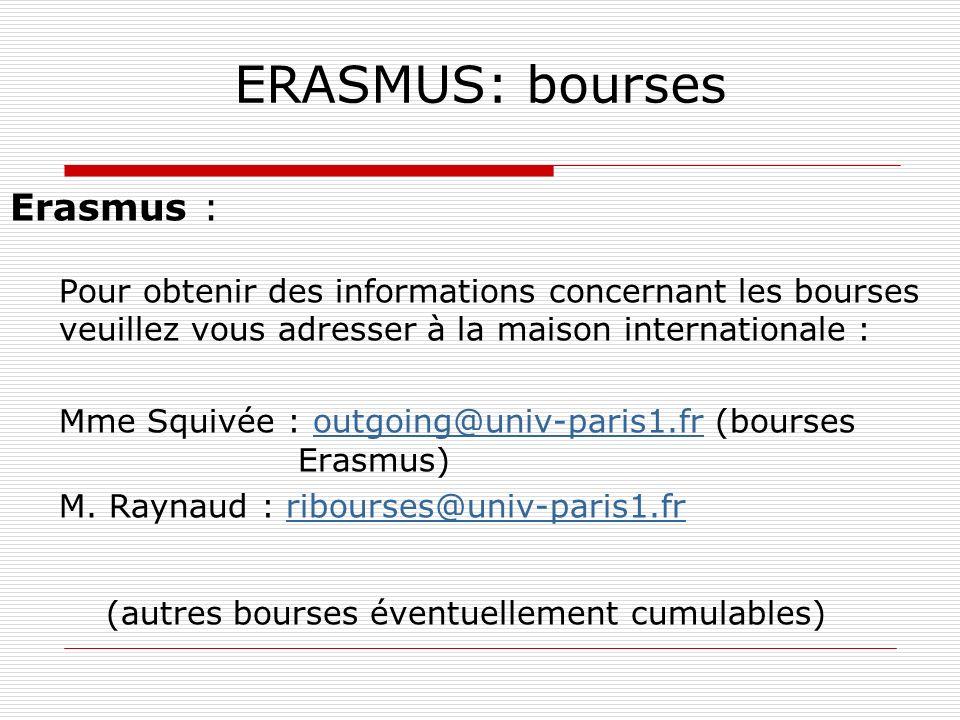ERASMUS: bourses Erasmus :