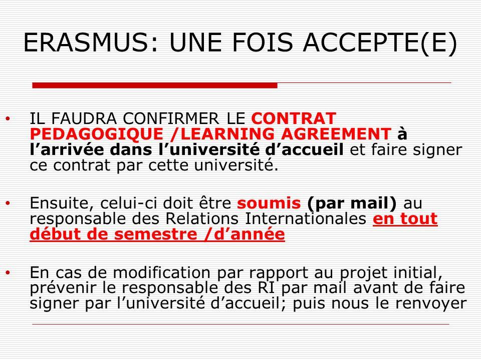 ERASMUS: UNE FOIS ACCEPTE(E)