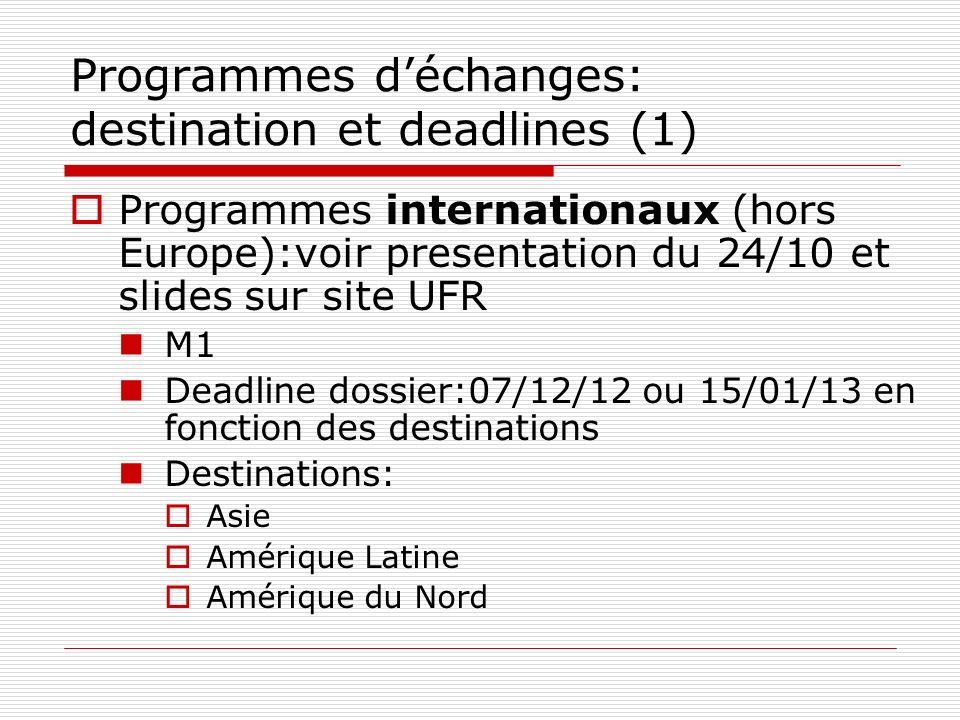 Programmes d'échanges: destination et deadlines (1)