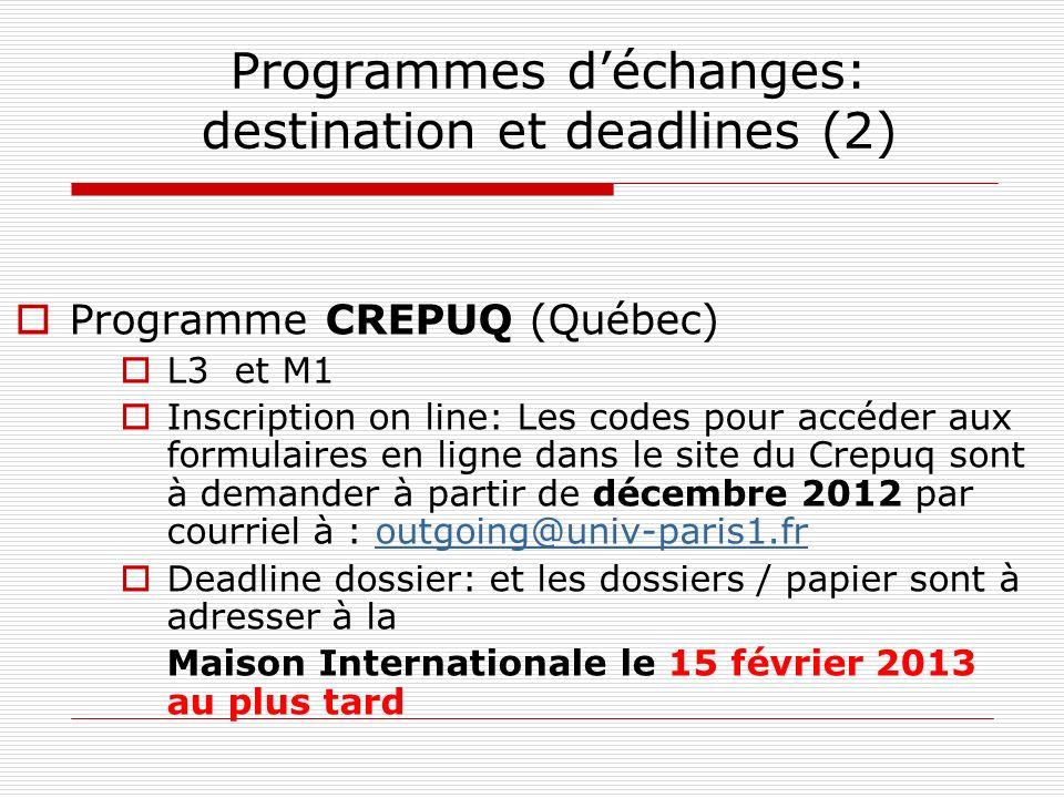 Programmes d'échanges: destination et deadlines (2)