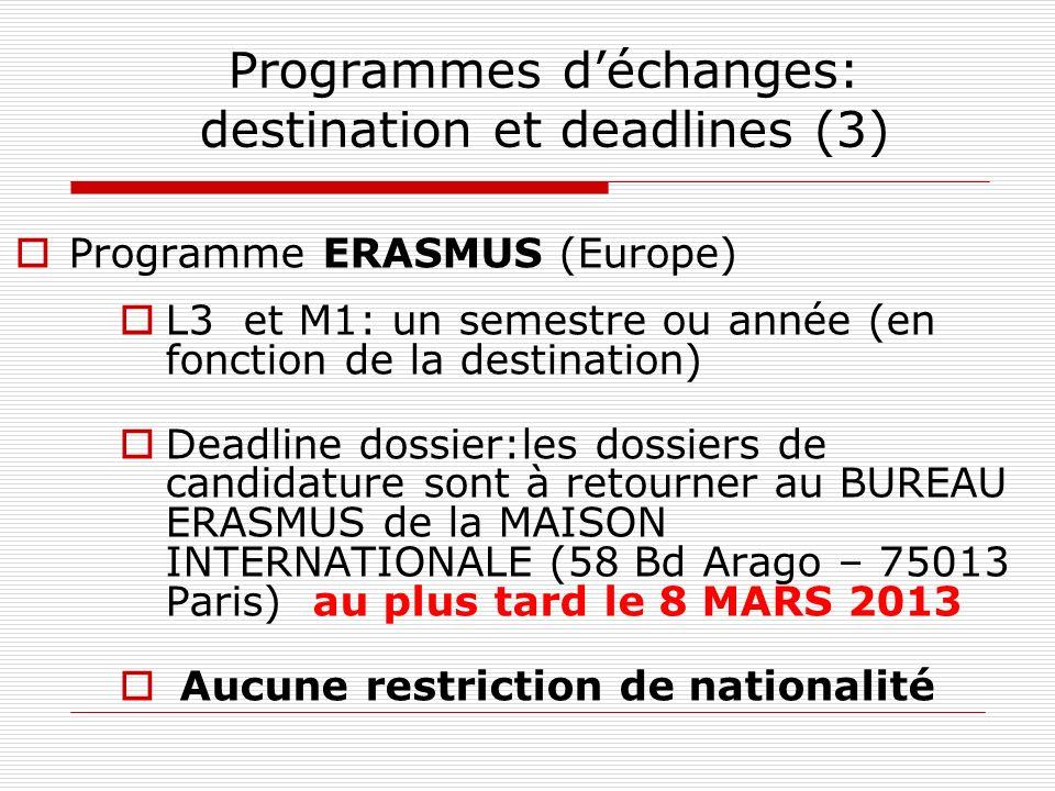 Programmes d'échanges: destination et deadlines (3)