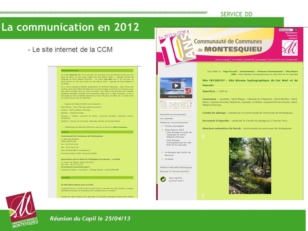 La communication en 2012 - Le site internet de la CCM SERVICE DD