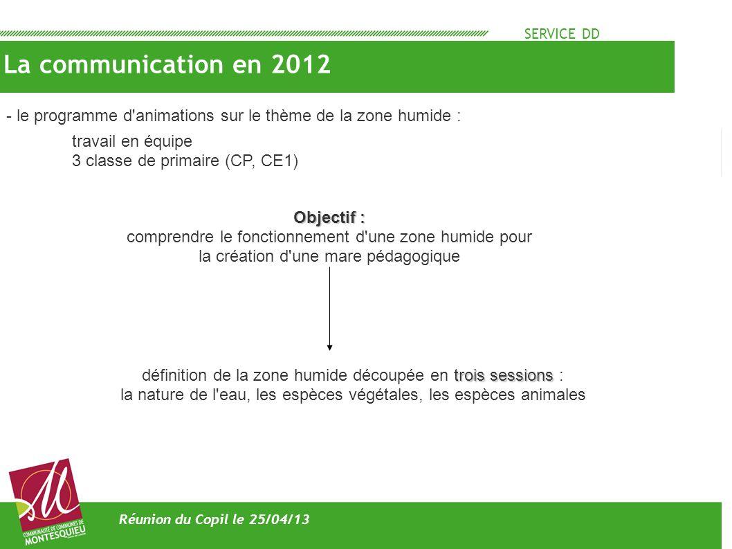 SERVICE DD La communication en 2012. - le programme d animations sur le thème de la zone humide : travail en équipe.