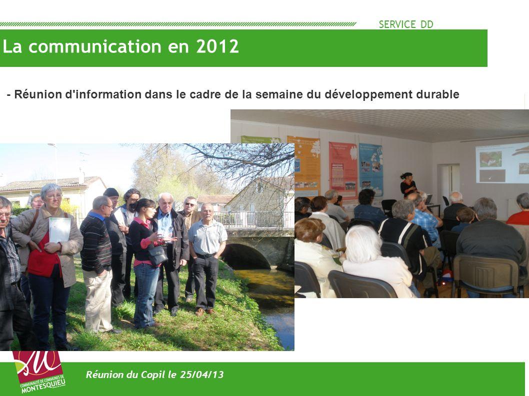 SERVICE DD La communication en 2012. - Réunion d information dans le cadre de la semaine du développement durable.