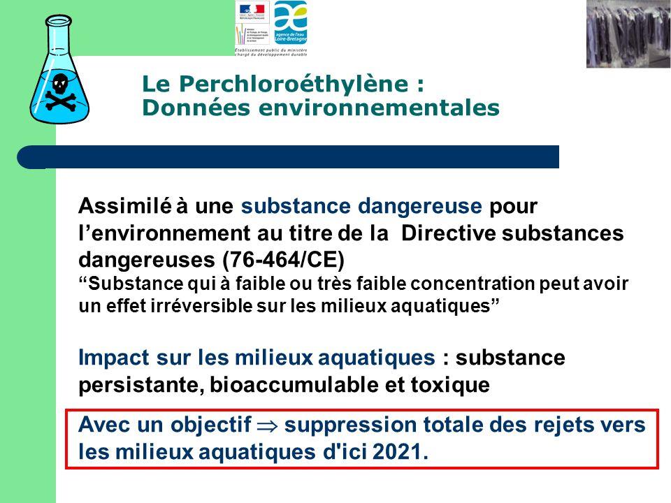 Le Perchloroéthylène : Données environnementales